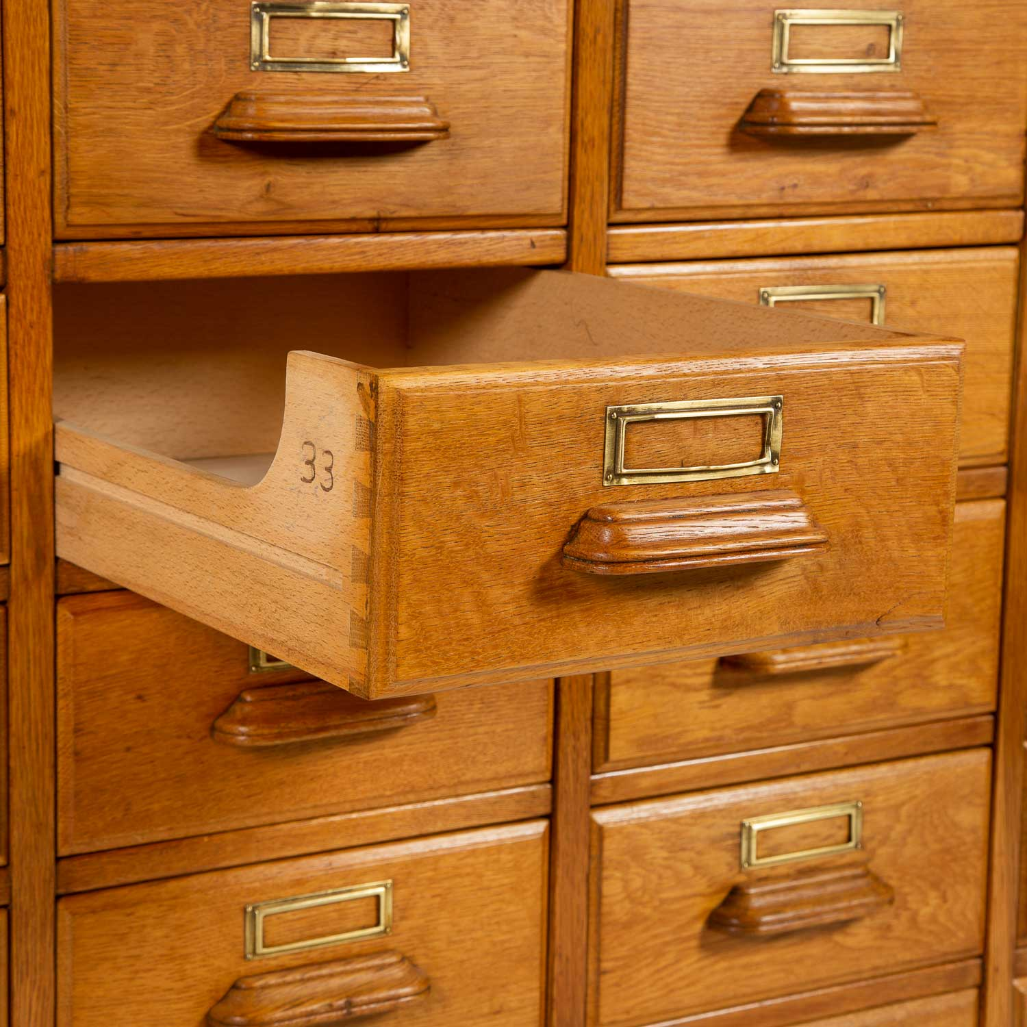 OAK HABERDASHERY CABINET 54 DRAWERS