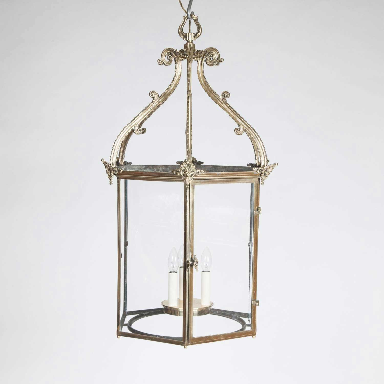 HEXAGONAL BRASS HALL LANTERN