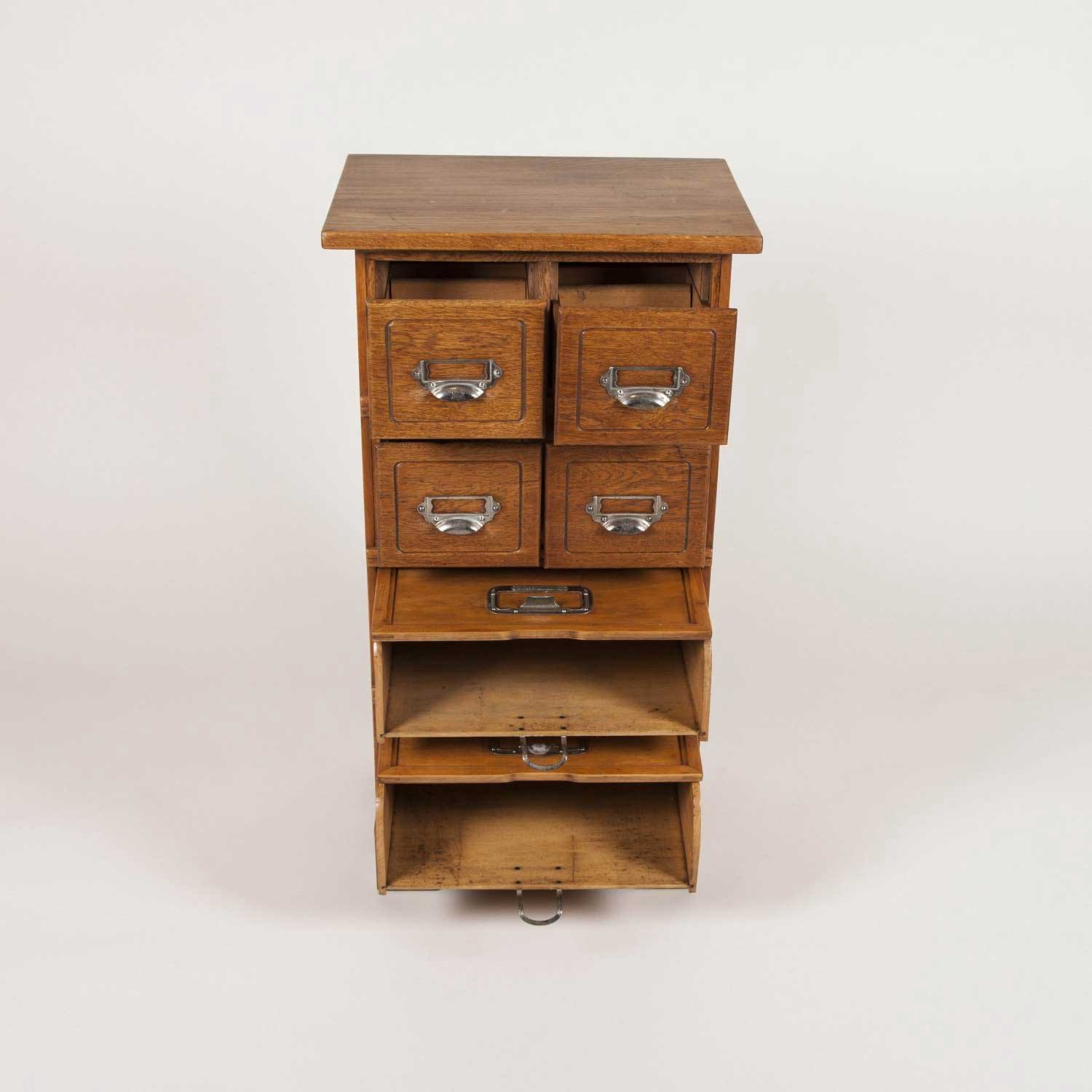PAIR OF OAK FILING CABINETS BY STOLZENBERG